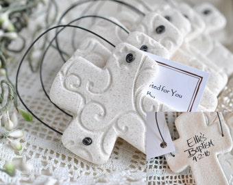 Personalized Imprinted Chunky Cross Salt Dough Baptism / Wedding Favors Set of 6