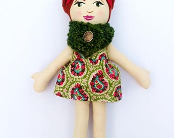 SALE Cloth Doll Red Hair, Green Cowl Rag Doll Soft Doll Christmas Doll Gifts under 75 fabric doll heirloom doll