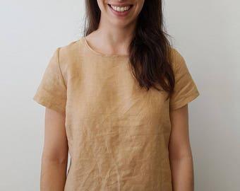 Hand Dyed Linen Top in Ecru