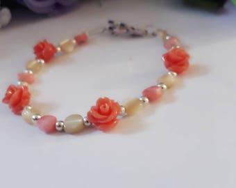 Pink coral bracelet - mother of pearl bracelet - coral roses - pink bracelet