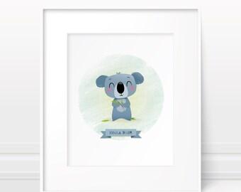 Nursery print - koala illustration, animal print, original kids art, cute animal print, koala print, baby shower gift, neutral gender baby