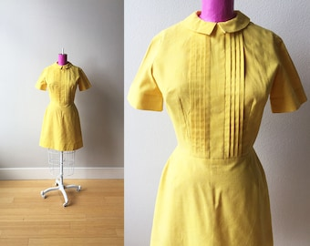 Summer Days Canary Yellow 1960s Mod Scooter Dress with Peter Pan Collar