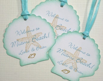 10 Wedding Tags for Favors - Personalized Tags - Seashell Starfish Welcome Tags - Tropical Wedding - Destination Wedding - Beach - Seashore