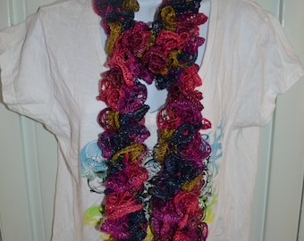 Sale 25% off Mambo Bight Funky Ruffle Scarf.  Pink, Purple, Blue and Green Scarf. Handmade Crochet  Lightweight High Fashion Frilly Scarf.