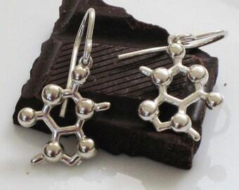 chocolate - theobromine molecule - earrings in solid sterling silver