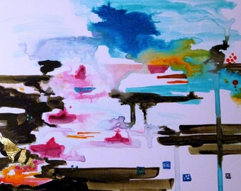 Turquoise and Pink Abstract Painting, Contemporary Landscape, French Seaside