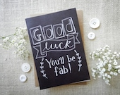 Good Luck chalkboard card...