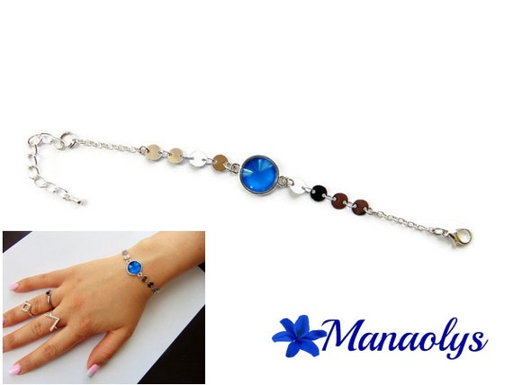 Bracelet fine cabochon blue glass, silver chains, gift idea, birthday, mothers day