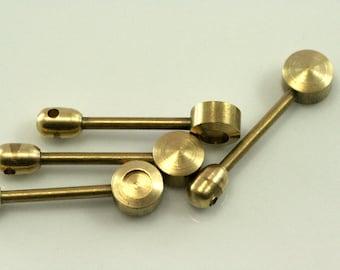 4 mm blank setting 2 PCS Raw Brass 32x8 mm Pendant finding industrial design  1553