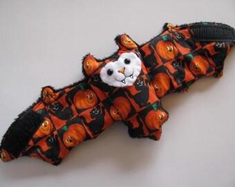 Checkered Pumpkin and Black Cat Bat Coffee Cozy, Cup Sleeve, Stuffed Animal