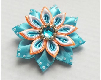 Satin Flower Hairclip/Hairclip with Kanzashi Flower blue, oarnge and white/Satin Hair accessory/Up to 160 Custom Colors