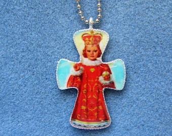 Infant of Prague Handmade Catholic Resin Cross Crucifix Necklace IP3