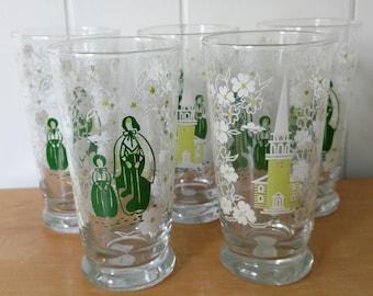 5 vintage Pilgrim Church glasses Libbey