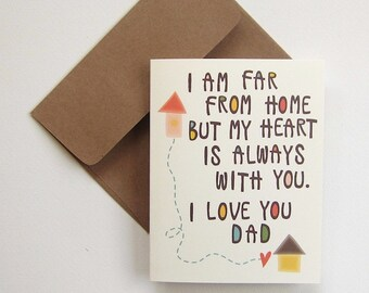 Card for Dad, Dad birthday card, Dad card, Father card, I love you Dad, Far from home