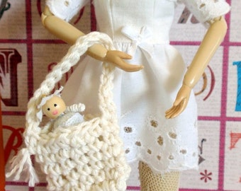 Blythe Doll Eyelet Dress with Tiny Doll and Purse