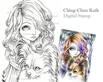 Papillon - Digital Stamp Instant Download / Fantasy Art by Ching-Chou Kuik