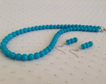 Turquoise Blue Wedding Jewelry, Blue Beaded Necklace, Blue Bridesmaid Jewelry, Turquoise Blue Bridal Jewelry, Bridal Party Gifts