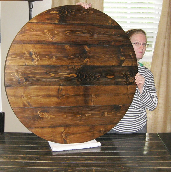 Farmhouse Style Wood Lazy Susan Turntable Any Stain Color