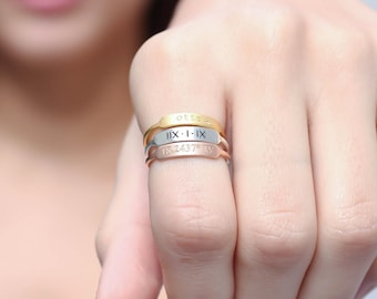 Roman Numeral Ring • Location Coordinates Ring • Pet Memorial Jewelry • Personalized Pet Lover Ring • Mom Gift • Personalized Gift • RM27F31