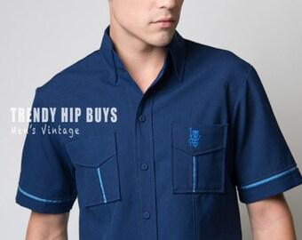 Vintage Hawaiian shirt, Men's Vintage top, Men's Hawaiian shirt, Men's Blue top, Men's blue Shirt, Men's vintage shirt - M