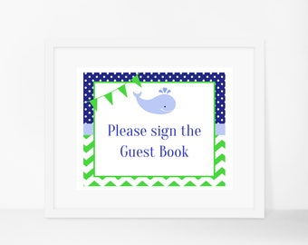 Whale Guest Book Sign, Whale Table Sign, Nautical Guest Book Sign, Nautical Table Sign, Whale Baby Shower, Nautical Baby Shower