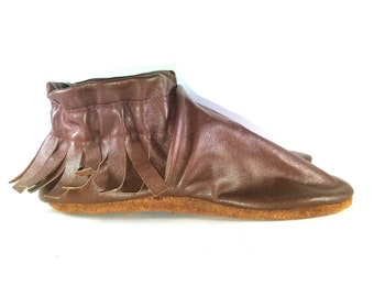 Kid's Size 11.5 Brown Leather Moccasins, Moccs, Shoes
