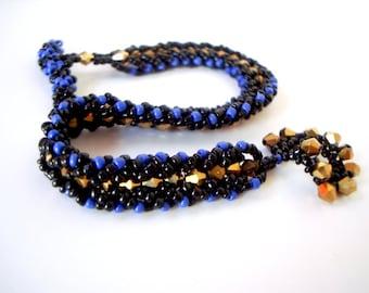 Flat Spiral Bracelet black gold and blue metallic seed bead woven spiral narrow dressy statement bracelet royal blue electric blue plus size