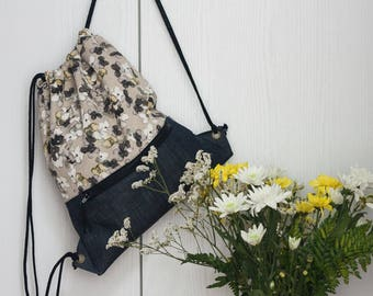 Fabric backpack. Flowers print. Drawstring backpack. Beach backpack. Travel bag.