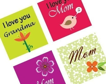 Funky Mother's Day - 7/8 (.875) Inch Pendant IMAGES - Digital Collage Sheet - BUY 2 Get 1FREE