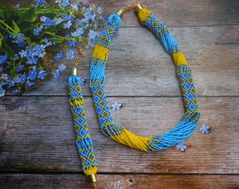 Beaded necklace blue yellow Ukrainian flag Ukrainian necklace embroidered Ukrainian ornament Ukrainian jewelry Ukrainian Folk necklace gift