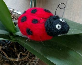 Needle Wool Felted Ladybug with wire legs and antennas