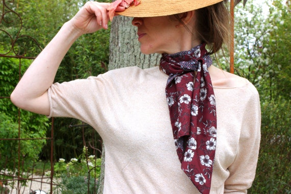 Ascot tie, Brown-blue flowers and rose cotton and Viscose scarf.