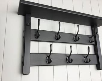 7 Hook hat and coat rack with shelf