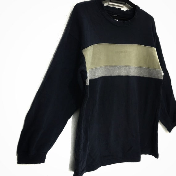 Sweatshirt In JAPAN TENNIS Color LACOSTE Vtg Jumper Made Medium Block Striped 6CzBRqF