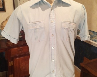 1970s Polyester Shirt - Mens Casual Shirt with Rainbow Top Stitching - size Medium -  Sky Blue - Big Collar - Hipster - Pride - Disco