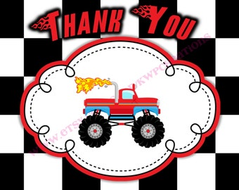 Monster Truck Thank You Card - Instant Download