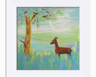 Moonlit Fawn Picture - Limited Edition Fine Art Print, Original Artwork by Tracey Zorek