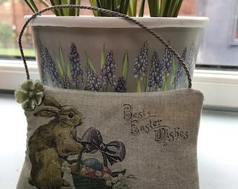 Easter rabbit lavender filled  vintage postcard