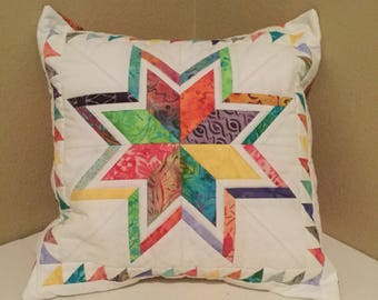 Quilted Rainbow Star Pillow