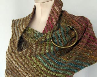 Ladies Knitted Wrap, Multicolor Asymmetrical