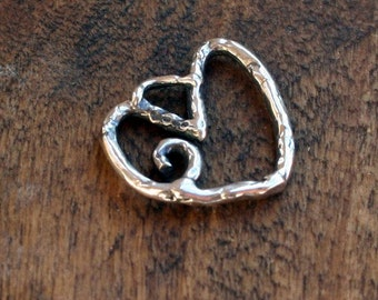 Heart Charm Artisan Curly Sterling Silver