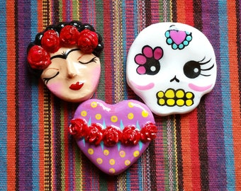 Frida sugar skull or heart MAGNET you choose