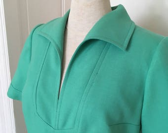 Vintage sixties dress green with Golden details//Vintage 60s dress green and gold
