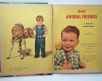 Our Animal Friends 1960s Book A Rand McNally Elf 8403 1962 Illustrated Vintage Childrens Art