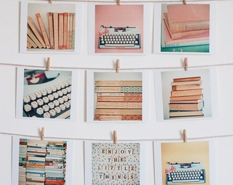 Book Photography, Typewriter Art, Gift for Book Lover, Library Wall Art, Home decor, Set of Nine Mini Prints - Literature