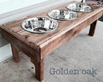 "Reclaimed rustic pallet furniture dog bowl stand golden oak finish. 30""l x 12"" w x 11"" t"