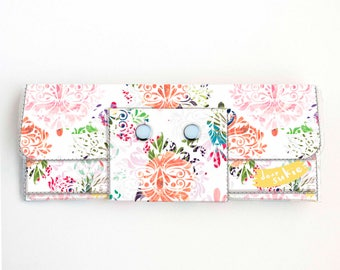 Vinyl Long Wallet - Joyful Spring2 / floral, yellow, polka dot, vegan, pretty, large wallet, clutch, card case, vinyl wallet, big, woman
