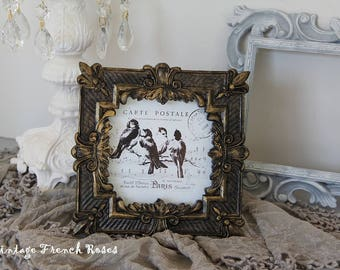 """Frame French Style Hand Painted Black Gold Birds Fleur de Lis 6.5"""" Square Romantic French Wedding Shabby Chic Cottage Farmhouse Style Decor"""