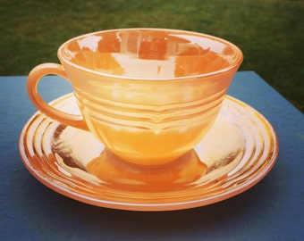 Vintage Fire-King Peach Lustre Tea Cup and Saucer