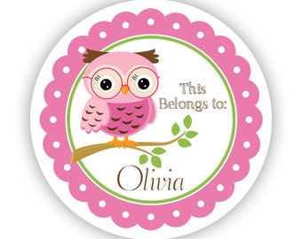 Name Tag Stickers - Adorable Pink and Green School Owl Personalized Name Label Tag Stickers - This Belongs To - Back to School Name Labels